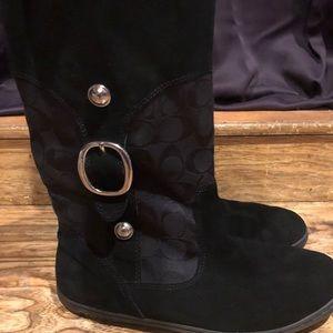 Coach black signature & suede boots sz 10
